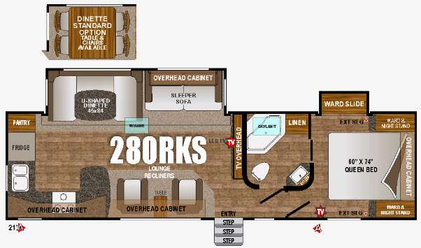 Floorplan - 2016 Outdoors RV Timber Ridge 280RKS