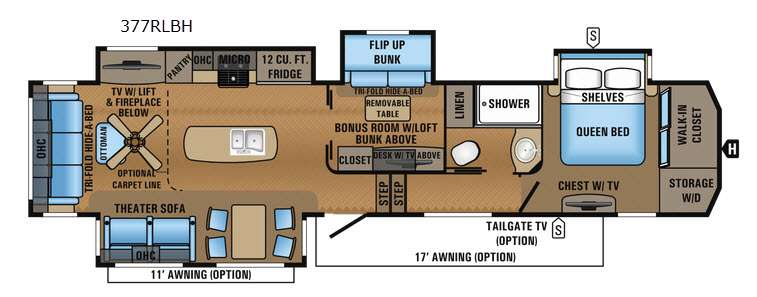 New 2017 jayco north point 377rlbh fifth wheel at manteca for Fifth wheel with bonus room