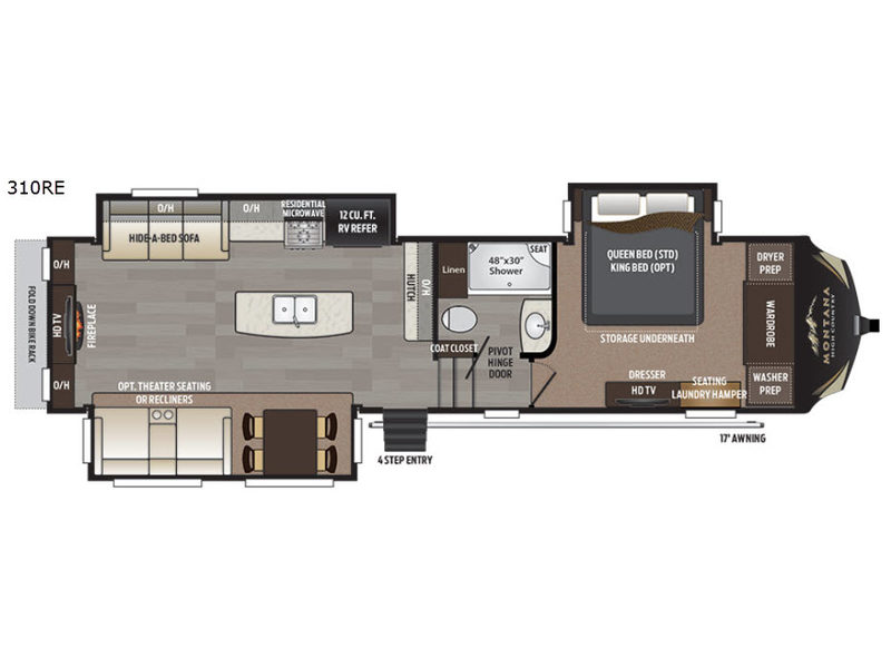 Floorplan - 2017 Keystone RV Montana High Country 310RE