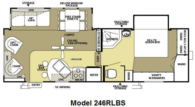 Floorplan - 2009 Forest River RV Wildwood LA 246RLBS
