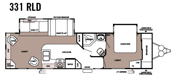 Floorplan - 2008 Forest River RV Sandpiper 331RLD