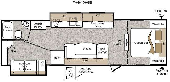 Floorplan - 2010 Keystone RV Passport 300BH