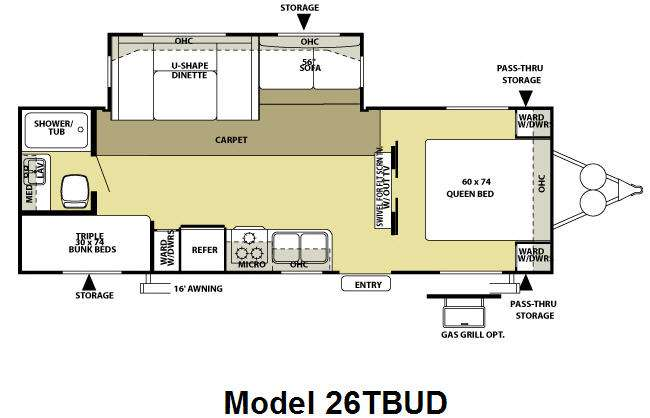 Floorplan - 2010 Forest River RV Salem LE 26TBUD
