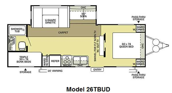 Floorplan - 2012 Forest River RV Salem 26TBUD