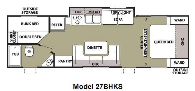 Floorplan - 2013 Forest River RV Cherokee Grey Wolf 27BHKS