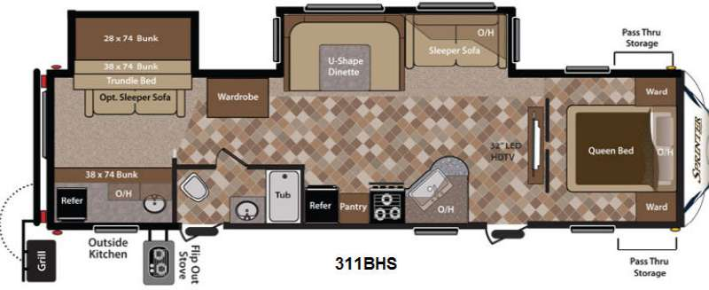 Floorplan - 2013 Keystone RV Sprinter 311BHS