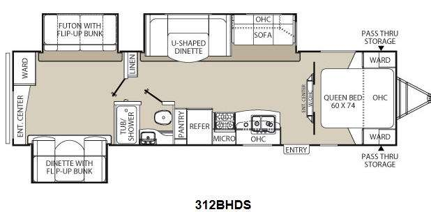 Floorplan - 2013 Coachmen RV Freedom Express 312BHDS