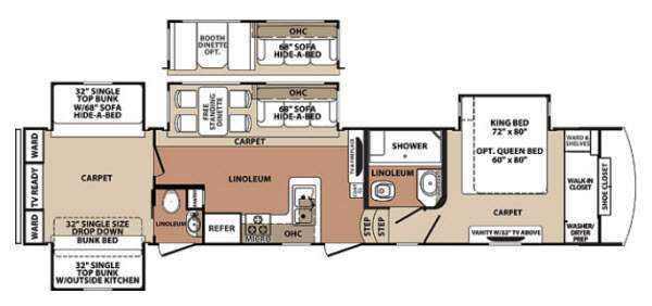 Floorplan - 2014 Forest River RV Blue Ridge 3710BH