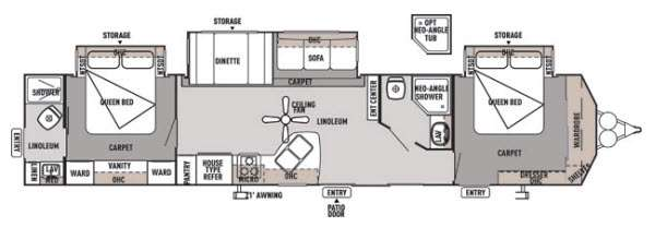 Floorplan - 2014 Forest River RV Wildwood Lodge 4002Q DLX