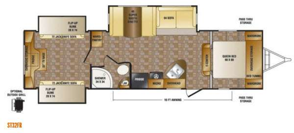 Floorplan - 2014 CrossRoads RV Sunset Trail Reserve ST32FR