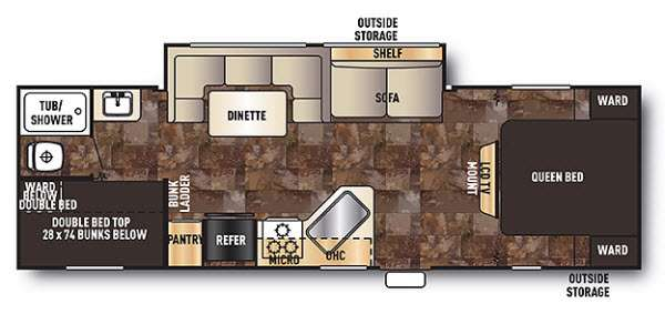Floorplan - 2014 Forest River RV Cherokee Grey Wolf 28BH