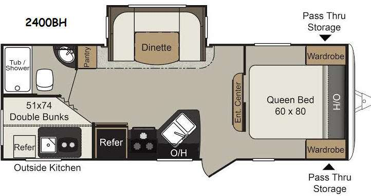 Floorplan - 2015 Keystone RV Passport 2400BH Grand Touring