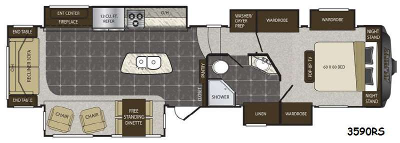 Floorplan - 2015 Keystone RV Alpine 3590RS