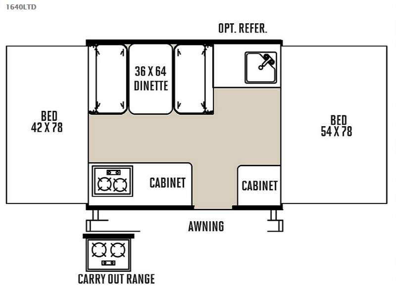 Floorplan - 2015 Forest River RV Rockwood Freedom Series 1640LTD