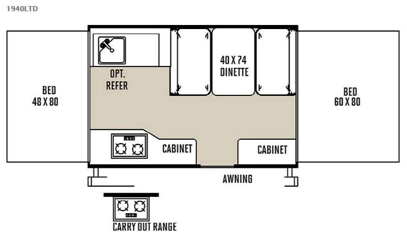 Floorplan - 2015 Forest River RV Rockwood Freedom Series 1940LTD