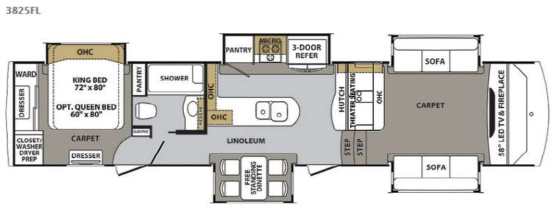 Front Living Fifth Wheel Floor Plans: New 2017 Forest River RV Cardinal 3825FL Fifth Wheel At