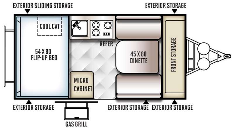 Floorplan - 2016 Forest River RV Rockwood Hard Side Series A122S