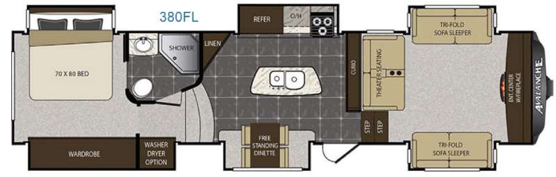 Floorplan - 2016 Keystone RV Avalanche 380FL