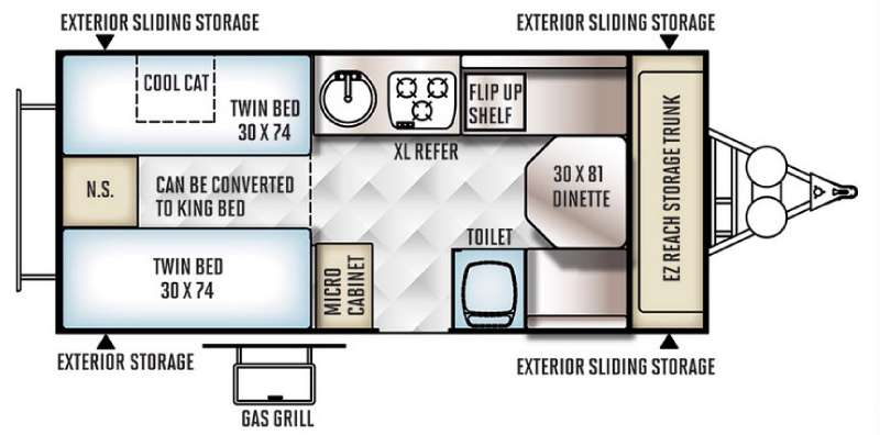 Floorplan - 2016 Forest River RV Rockwood Hard Side High Wall Series 213HW