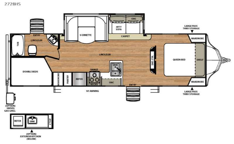 Floorplan - 2016 Forest River RV Vibe 272BHS