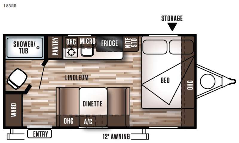 Floorplan - 2017 Forest River RV Wildwood X Lite FS 185RB
