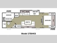 Floorplan - 2012 Forest River RV Cherokee Grey Wolf 27BHKS