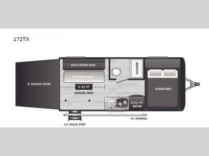 Hideout Single Axle 172TX Floorplan Image