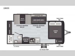 Hideout Single Axle 186SS Floorplan Image