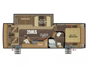 Back Country Series MTN TRX 25RLS Floorplan Image