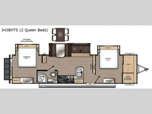 Catalina Legacy 343BHTS 2 Queen Beds Floorplan Image