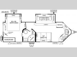 Rockwood Wind Jammer 2618VS Floorplan Image