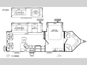 Rockwood Windjammer 2715V Floorplan Image