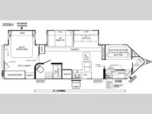 Rockwood Windjammer 3006V Floorplan Image