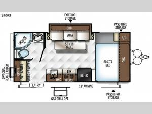 Rockwood Mini Lite 1909S Floorplan Image
