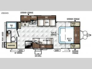 Rockwood Mini Lite 2502KS Floorplan Image