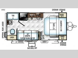 Rockwood Mini Lite 1902 Floorplan Image