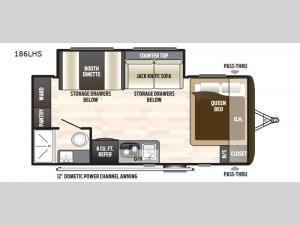 Hideout Single Axle 186LHS Floorplan Image