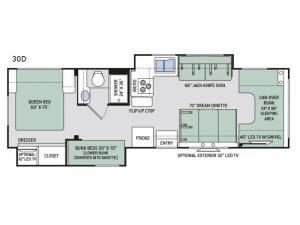 Four Winds 30D Bunkhouse Floorplan Image
