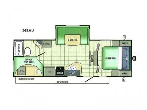 Autumn Ridge Sport Camping Series 24BHU Floorplan Image