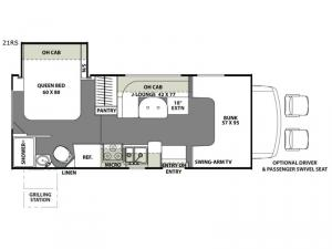 Freelander 21RS Ford 350 Floorplan Image