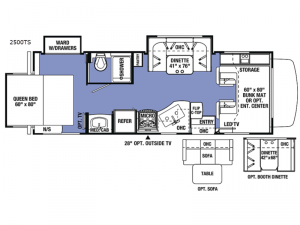 Sunseeker 2500TS Chevy Floorplan Image