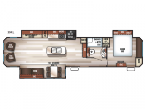 Cherokee Destination Trailers 39RL Floorplan Image