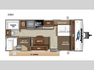 Jay Feather 20BH Floorplan Image