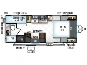 Rockwood Mini Lite 2306 Floorplan Image