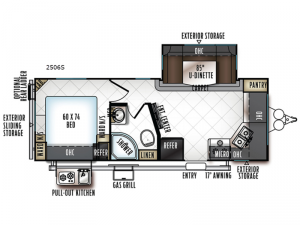 Rockwood Mini Lite 2506S Floorplan Image