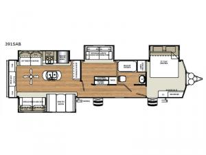 Sandpiper Destination Trailers 391SAB Floorplan Image