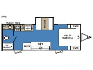 Clipper Ultra-Lite 21FQS Floorplan Image