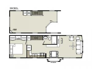 Quailridge Holiday Cottages 39CBDL Loft Floorplan Image