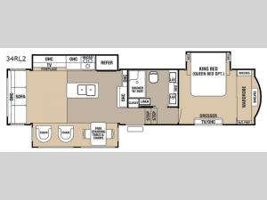 Cedar Creek Hathaway Edition 34RL2 Floorplan Image