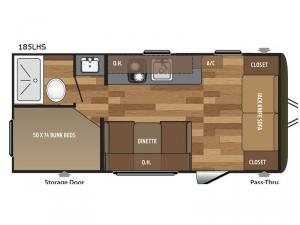 Hideout Single Axle 185LHS Floorplan Image
